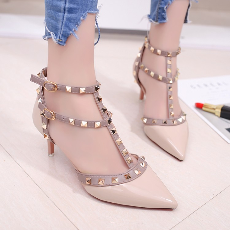ZHENZHOU Women's Shoes 2019 Summer Pointed High-heeled Stiletto Patent Leather Rivet Single Shoes Was Thin Buckle Women's Shoes