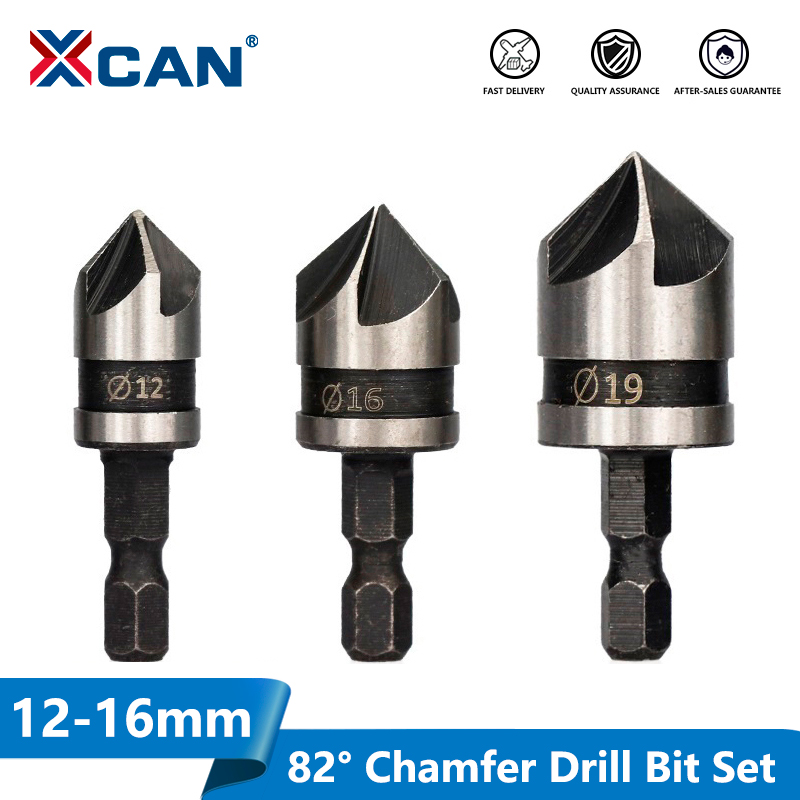 XCAN 82 Degrees Chamfer Drill Bit Set 12/16/19mm 5 Flute Wood Working Drill Bit Cutter Countersink Drill Bit Set
