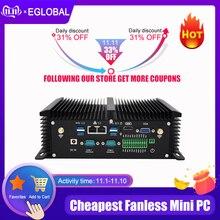 كمبيوتر صغير بدون مروحة صناعي i7 8550U i5 8250U رباعي النواة 2 * DDR4 2 * COM ويندوز 10 برو لينكس كمبيوتر سطح المكتب وعرة VGA HDMI واي فاي