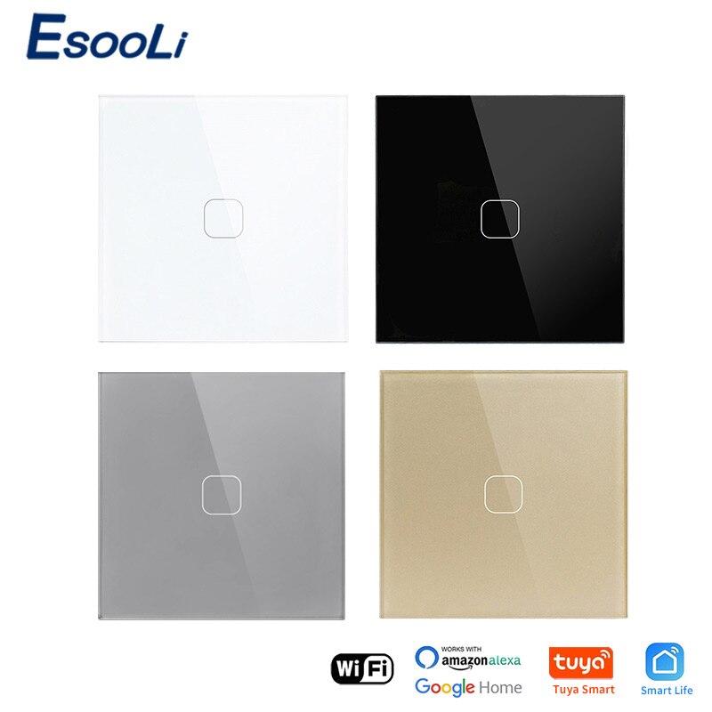 EsooLi EU Standard 1 Gang Tuya/Smart Life WiFi Wall Light Touch Switch Crystal Glass PanelWireless Control Touch Light Switch