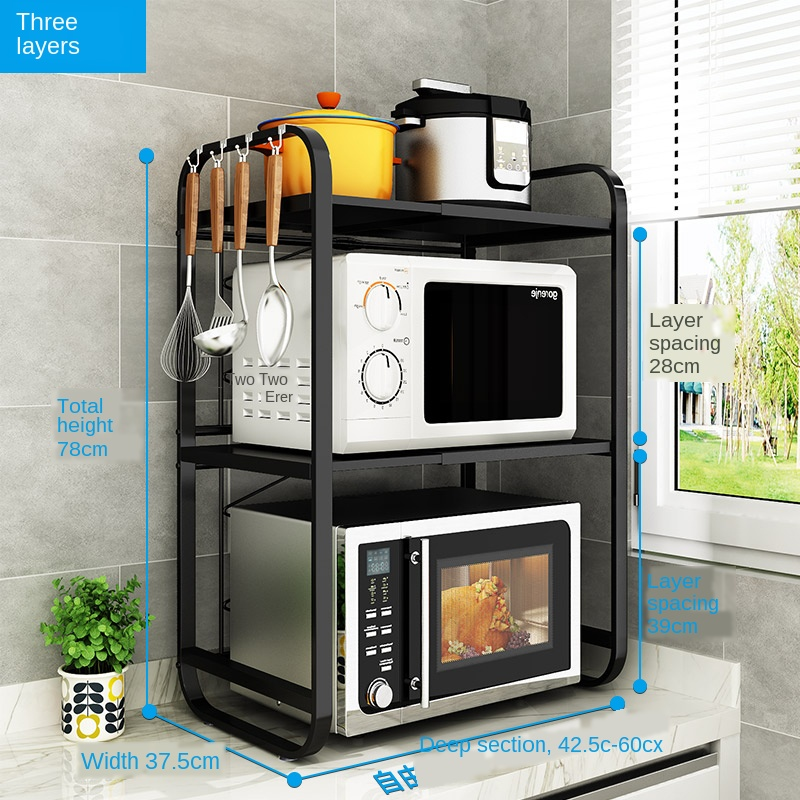 Retractable kitchen microwave grate table top household oven shelf double layer storage rack for rice cooker kitchen appliances