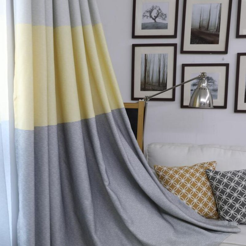 Nordic Curtain Fabric Shading Tricolor Stripe Curtains For Living Room Semi-Blackout Curtain Simple Modern For Bedroom