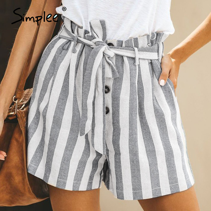 Simplee Casual Mid Waist Striped Women Shorts Sash Belt Buttons Female Shorts Spring Summer Cotton Linen Ladies Shorts Bottoms