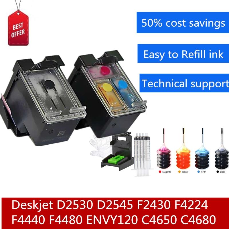 60XL Refilled Ink Cartridges Continue To Add Ink Kit For Deskjet D2530 D2545 F2430 F4224 F4440 F4480 ENVY120 C4650 C4680