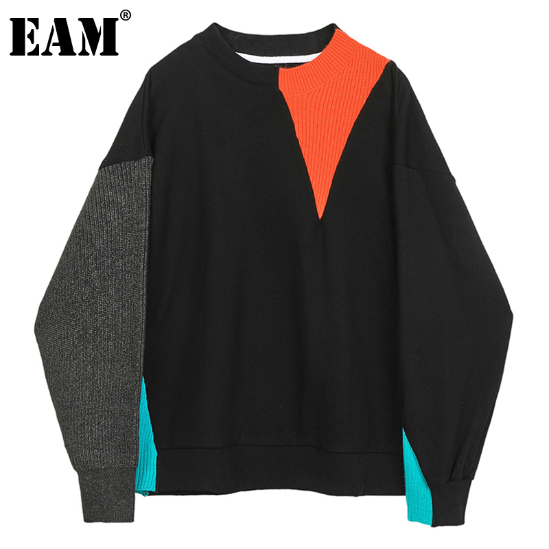 [EAM] Loose Fit Knitting Stitch Sweatshirt New Round Neck Long Sleeve Women Big Size Fashion Tide Spring Autumn 2020 1DB013 1