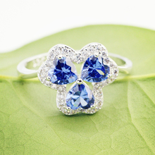 lingmei Dropshipping Clover Heart Wedding Rings Blue & Multicolor Zircon Fashion Jewelry 925 Silver Ring Size 6 7 8 9 Christmas
