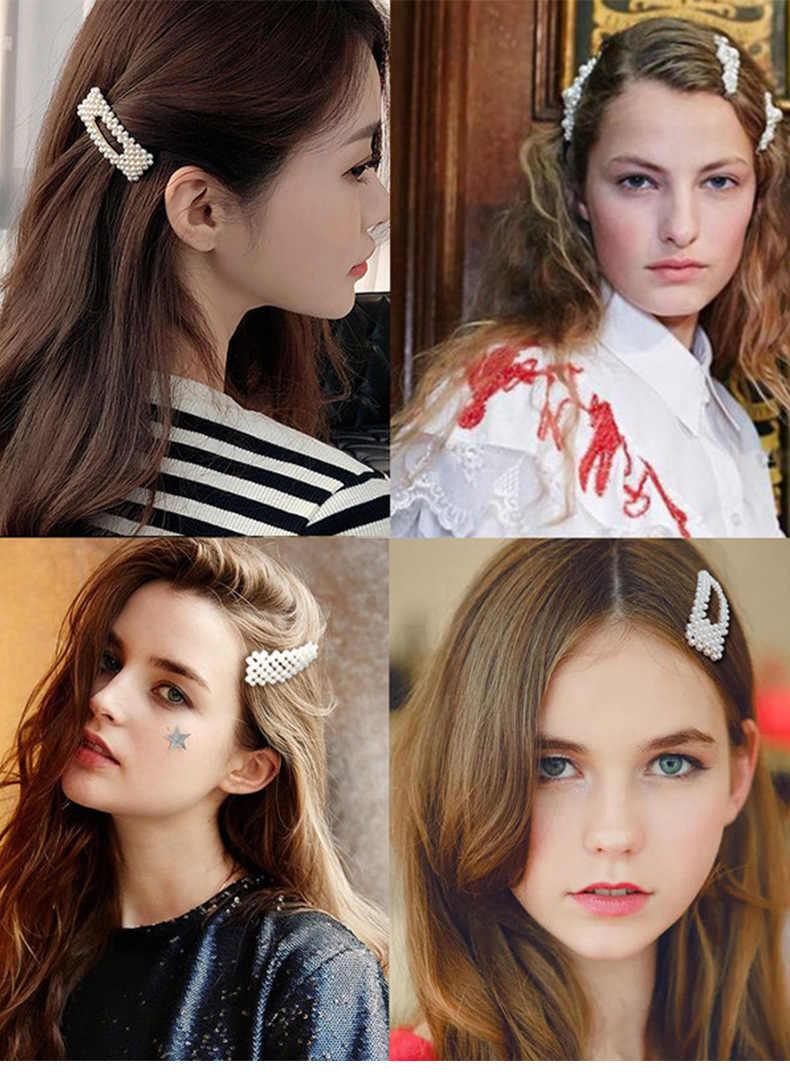 1 Juego de pinzas para el pelo con perlas elegantes para mujer y Niña de Ins Fashion, accesorios para el cabello