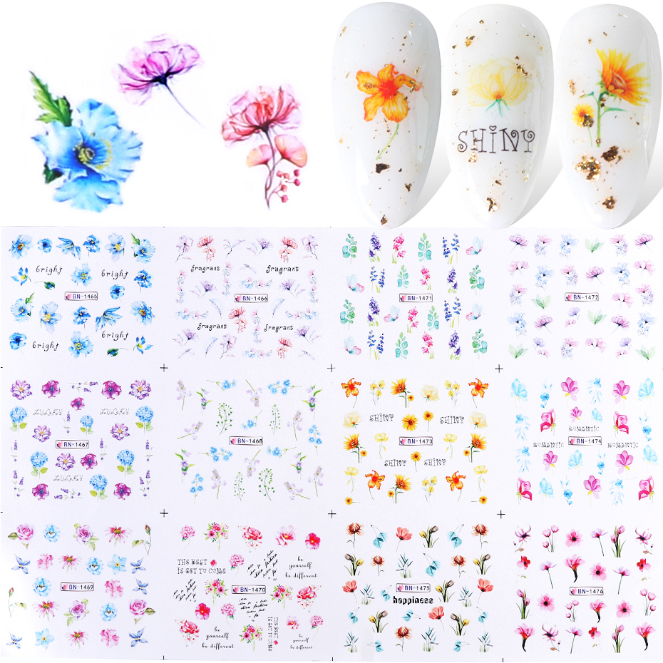 12pcs Poppy Flowers Leaf Nail Sticker Decorations Ink Watercolor Floral Decal Water Transfer Slider Nail Art Foils TRBN1465-1476