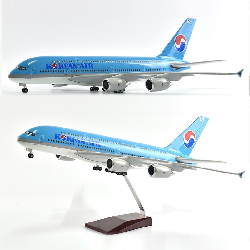 JASON TUTU 46cm Air coréen Airbus a380 modèle d'avion modèle d'avion résine moulé sous pression 1:160 échelle avec avions légers et roues
