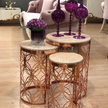 Różowe złoto Zigon stolik kawowy 3 lu stolik kawowy wykonany w turcji membrana nowoczesny dom bogaty modne modele wystrój metalu tanie i dobre opinie Turkey Nowoczesne 3 pieces Europa i ameryka Owalne Montaż