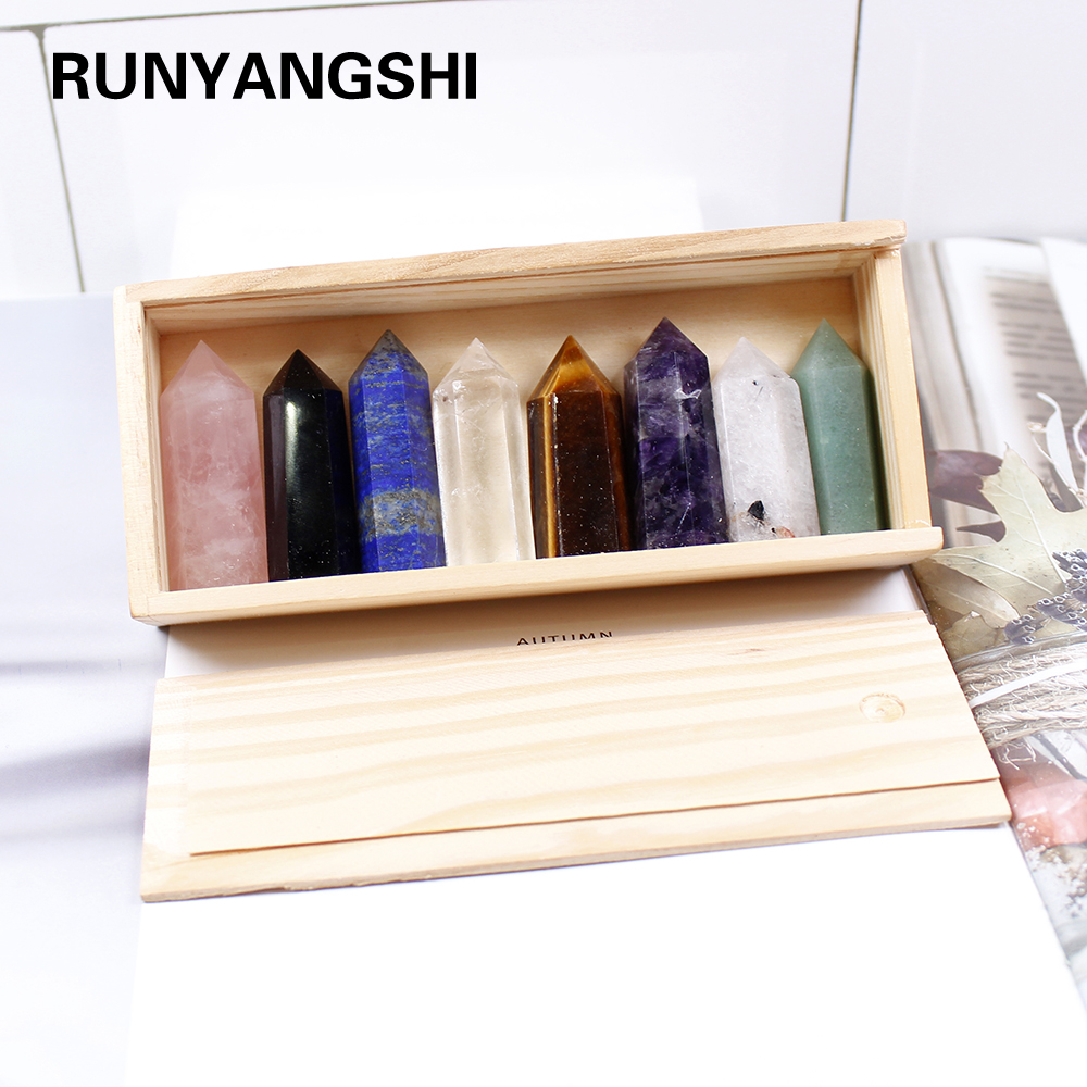 1set Wooden box gift box High quality Decorative Natural Hand Carved crystal points quartz wand pillar for sale healing Wand(China)