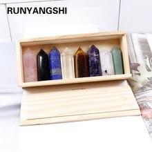 Baguette de guérison décorative en bois, coffret cadeau de haute qualité, pointes de cristal naturelles sculptées à la main, pilier à quartz, à vendre, 1 ensemble