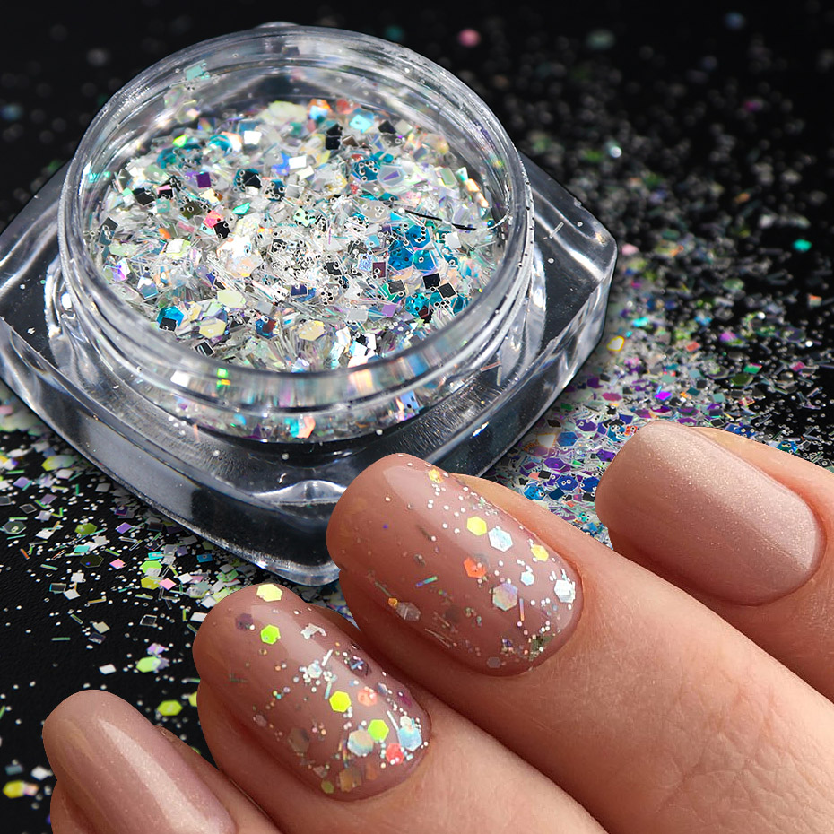 Image 2 - 8pcs Laser Sequins for Nails Silver Glitter Chrome Pigment Holo Rainbow Paillette Flakes Mirror Powder Nail Art Dust JI1506 13-in Nail Glitter from Beauty & Health