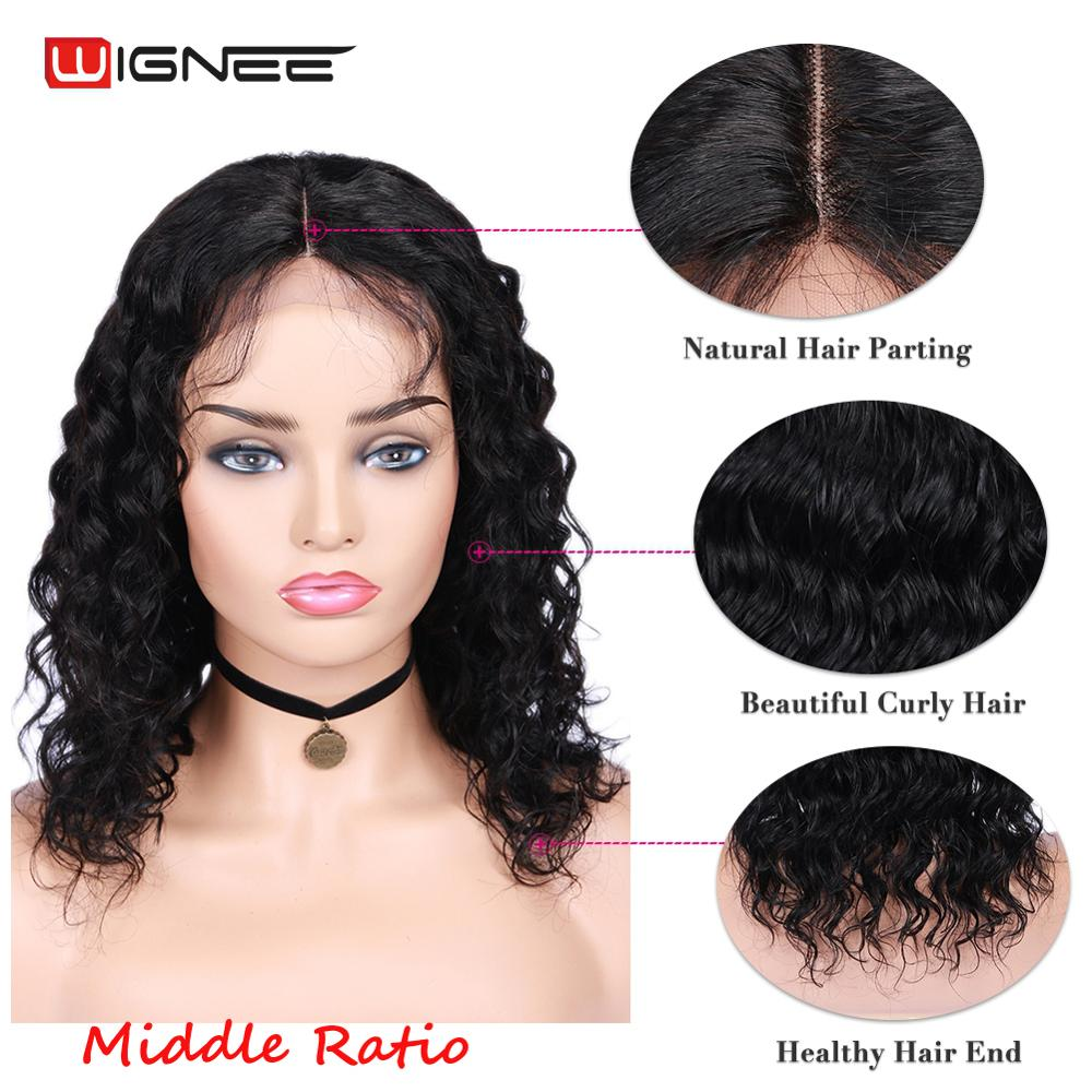 Wignee 4x4 Lace Closure Lose Wave Human Hair Wigs With Baby Hair For Black Women Remy Brazilian Hair150% Density Short Human Wig