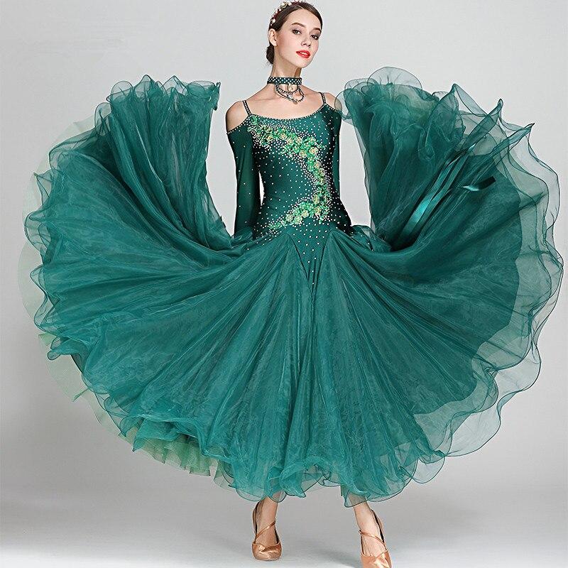 Women modern dance dress ballroom dance clothes standard ball dance performance costumes girl's fairy waltz diamonds dress S7018