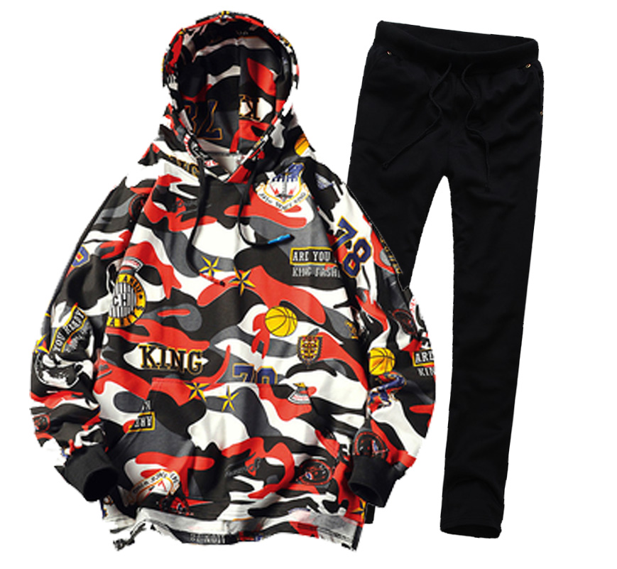 Men Hood Floral Full Outdoor Gym TrackSuit Sport Jacket Coat Bottom Top Suit Trousers Pants Track Suit Outfit