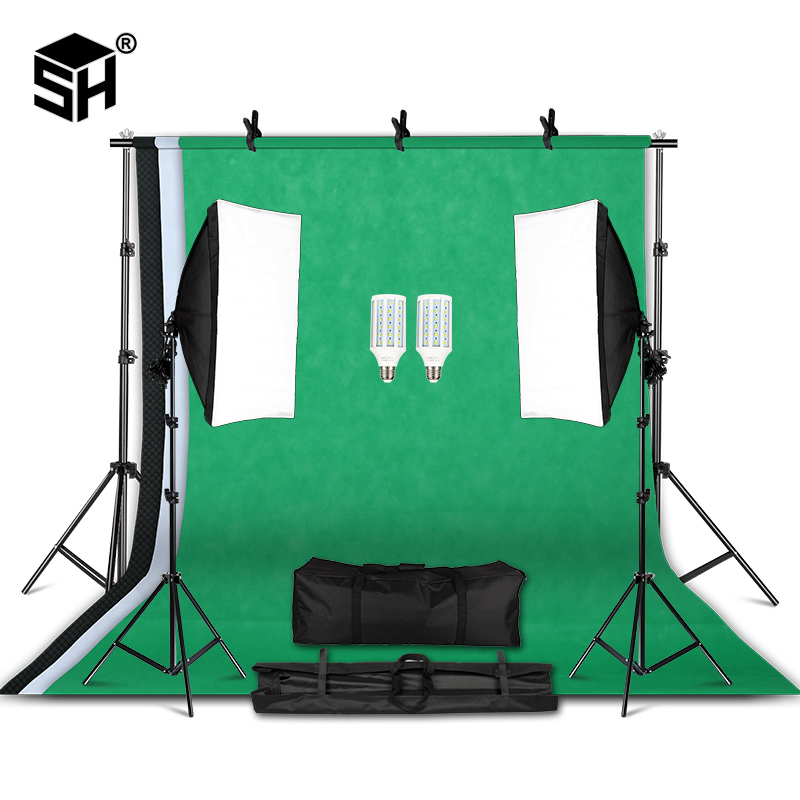 Kit professionnel déquipement déclairage de photographie avec le support mou de fond de parapluie de Softbox avec le Studio de Photo de lumière de bras de boom-in Accessoires pour studio photo from Electronique on AliExpress