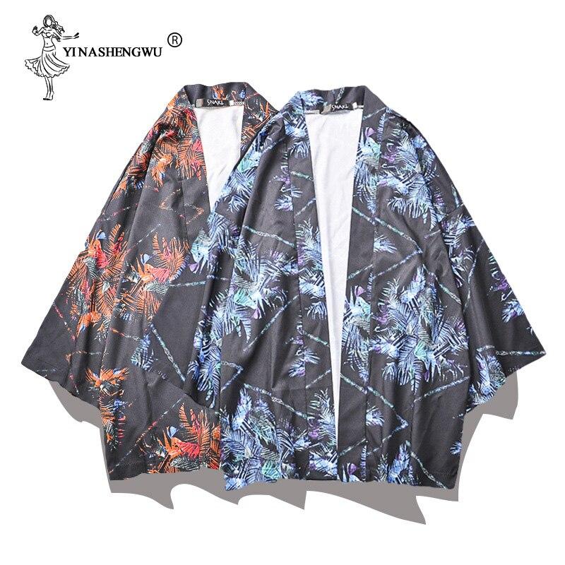Japan Kimonos Cardigan Men Japanese Traditional Kimono Robe Yukata Kimono Femme Beach Loose Thin Coat Unisex Cardigan Shirt Tops