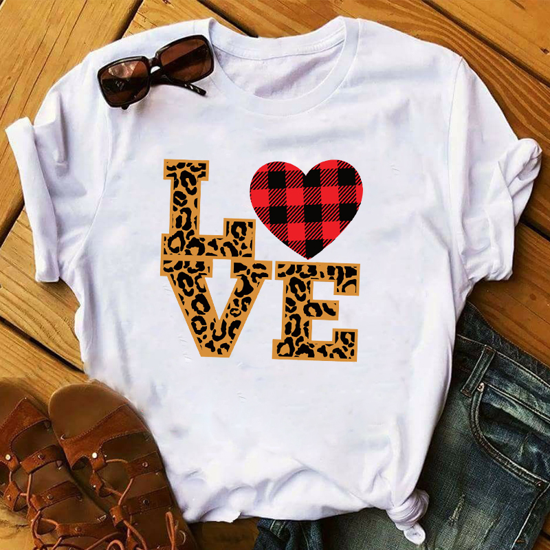 Women 2020 Love Leopard Plaid Graphic Female Print Valentine's Day Top Clothes Lady Ladies Womens Tee T-Shirt T Shirt T-shirts