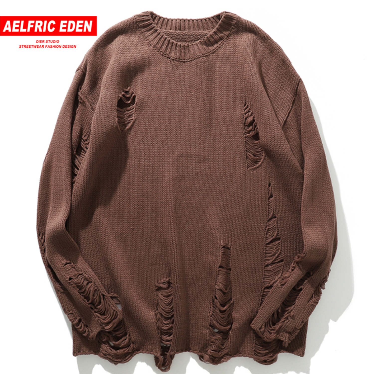 Aelfric Eden Solid Ripped Knitted Men Gothic Sweaters 2019 Harajuku Hip Hop Tops Fashion Streetwear Casual Male Pullover Outwear