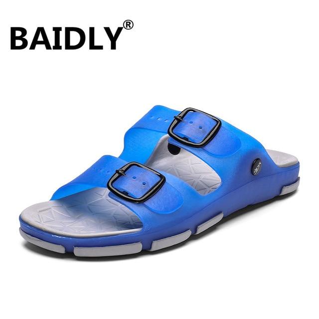 Men's Summer Slides Slippers Men Jelly Shoes Breathable Flat Slippers Water Beach Sandals Lightweight Unisex Beach Sandals 2