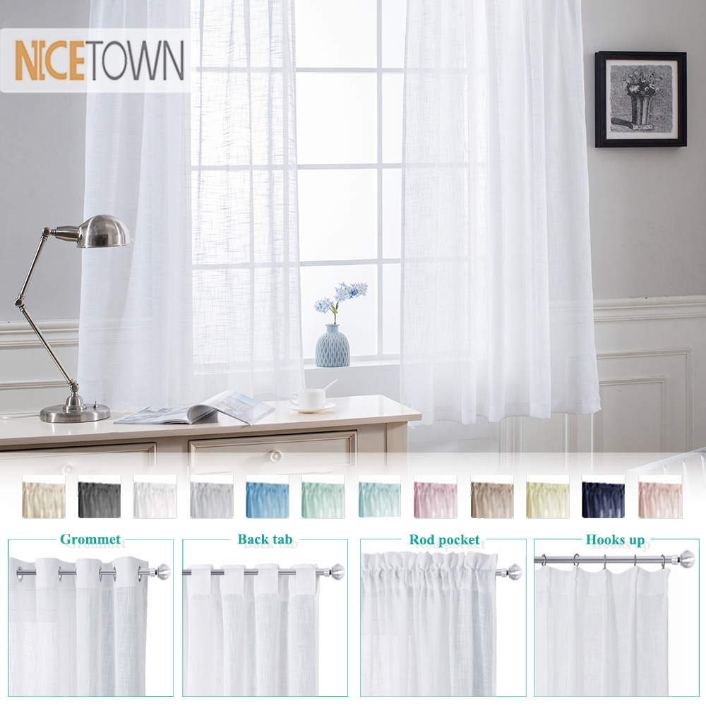 NICETOWN Slub Yarn Sheer Curtains for Doors Window Linen Textured Look Drapes for Bedroom Living Room Sliding Door Tulle curtain|Curtains| |  - title=