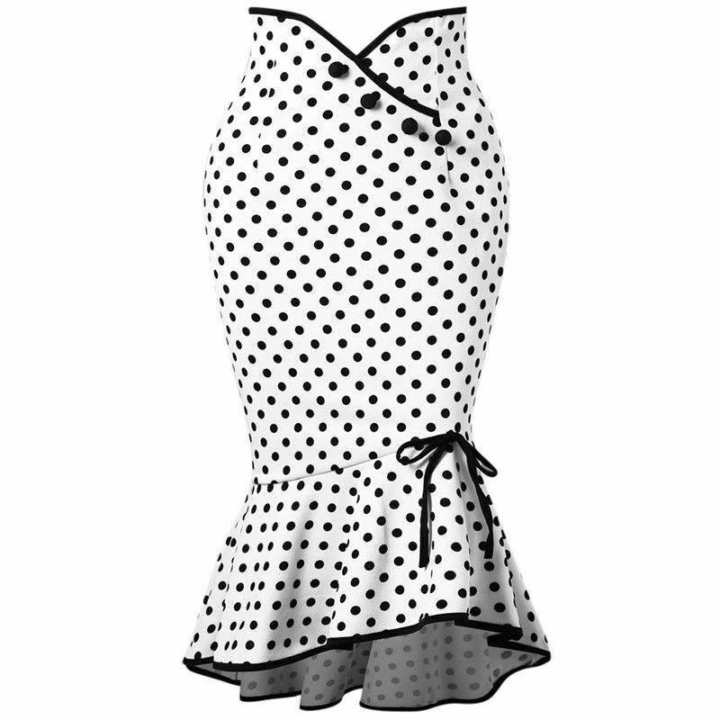 2020 Fashion Women Stretch High Waist Skirt Plain Long Skirt Midi Skirt Party Skirts UK Polka0 Dot Skirt