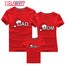 Dad Mom Baby Christmas T-Shirt Clothing for Family Matching Outfits Clothes Mother Daughter Father Son Look Mommy and Me Shirt(China)