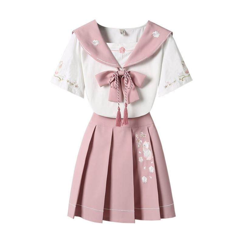 Women Girl Summer Dress Suit Set JK School Student Uniform Preppy Style High Waist Embroidery Top Pleated Short A-line Skirt