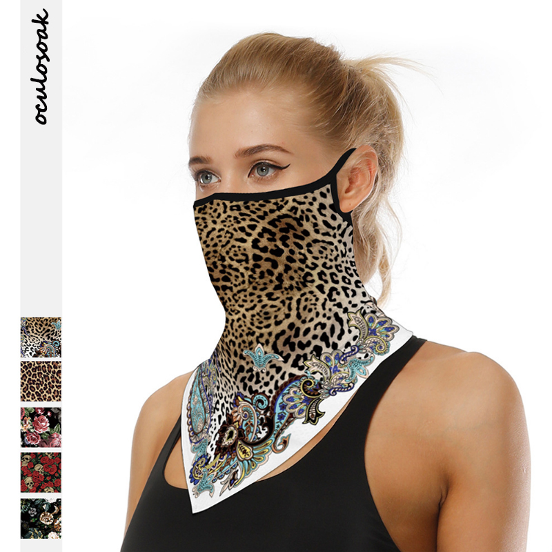 Explosion Leopard Digital Printed Hanging Ear Mask Triangle Scarf Outdoor Mountaineering Insect-proof Breathable Magic Turban