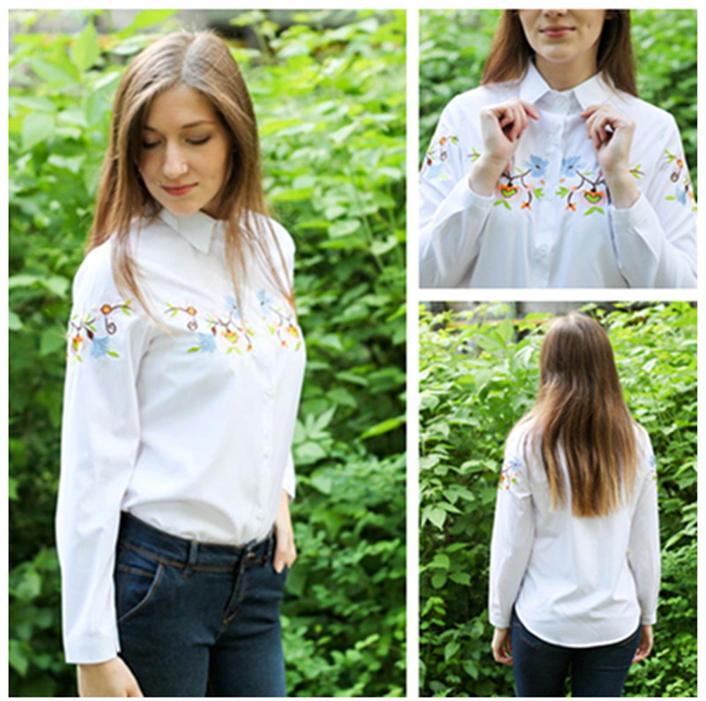 Floral Embroidery White Shirt Blouse  2020 Spring Casual TopTurn Down Collar Long Sleeve Cotton Women's Blouse Feminina 1518