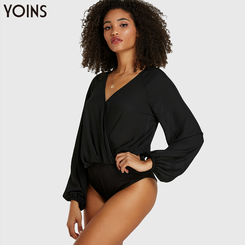 YOINS 2019 Spring Autumn Bodysuits Sexy Crossed Front V-neck Long Sleeves Bodysuit Elegant Casual Body Tops Solid Black Femme