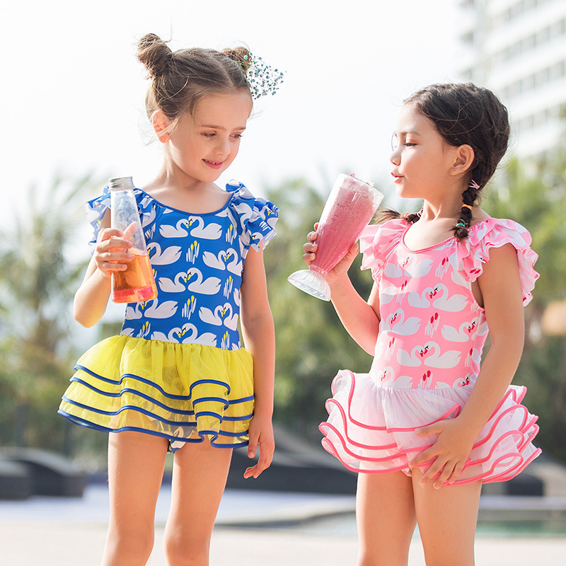 2019 Summer Girls Swimsuit Skirt-One-piece Cake Dress Big Boy KID'S Swimwear Cute Sweet Tour Bathing Suit Women's