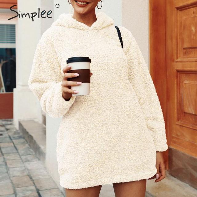 Simplee Winter women hoodies sweatshirts Solid fur loose midi pullover sweatshirts Streetwear autumn winter warm chic hoodies