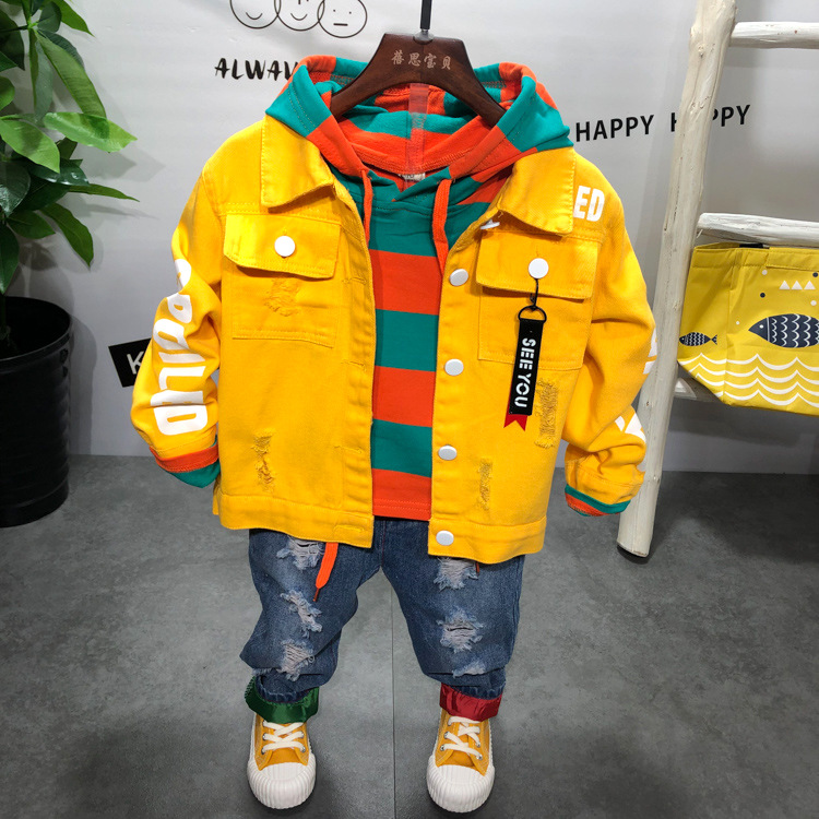 spring and autumn boys clothing sets 3pcs boys Denim jacket + striped hoodie + jeans kids sport suit tracksuit 2-6years