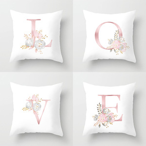 Image 1 - Rose Gold Pink English Letter Cushion Cover Valentines Day Gifts Kissen Decorative Throw Pillowcase for Couch Car Sofa Home
