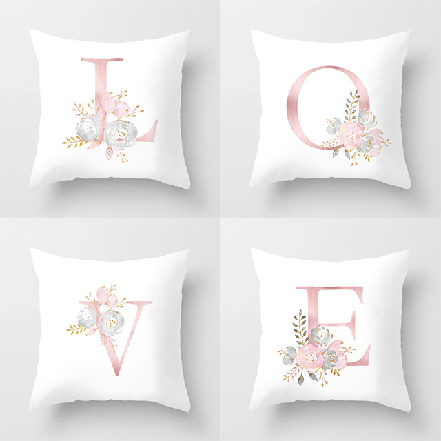 Rose Gold Pink English Letter Cushion Cover Valentines Day Gifts Kissen Decorative Throw Pillowcase for Couch Car Sofa Home
