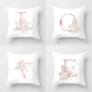 Image 1 - ローズゴールドピンク英字クッションカバーバレンタインの日ギフト用kissen装飾スロー枕車のソファホーム