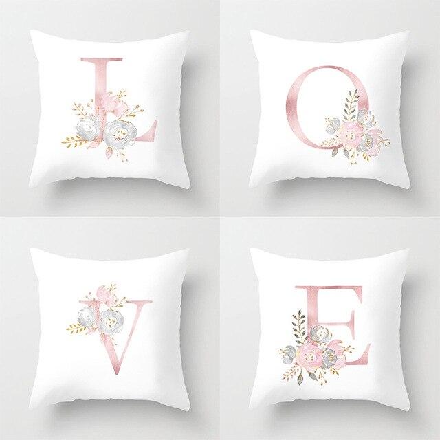 ローズゴールドピンク英字クッションカバーバレンタインの日ギフト用kissen装飾スロー枕車のソファホーム