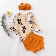 Hot Sale Spring Autumn Casual Fashion Baby Bodysuit And Short Pants And Headband Kids Printing Outfit Bodysuits Set hot sale 18 pcs set spring autumn 100
