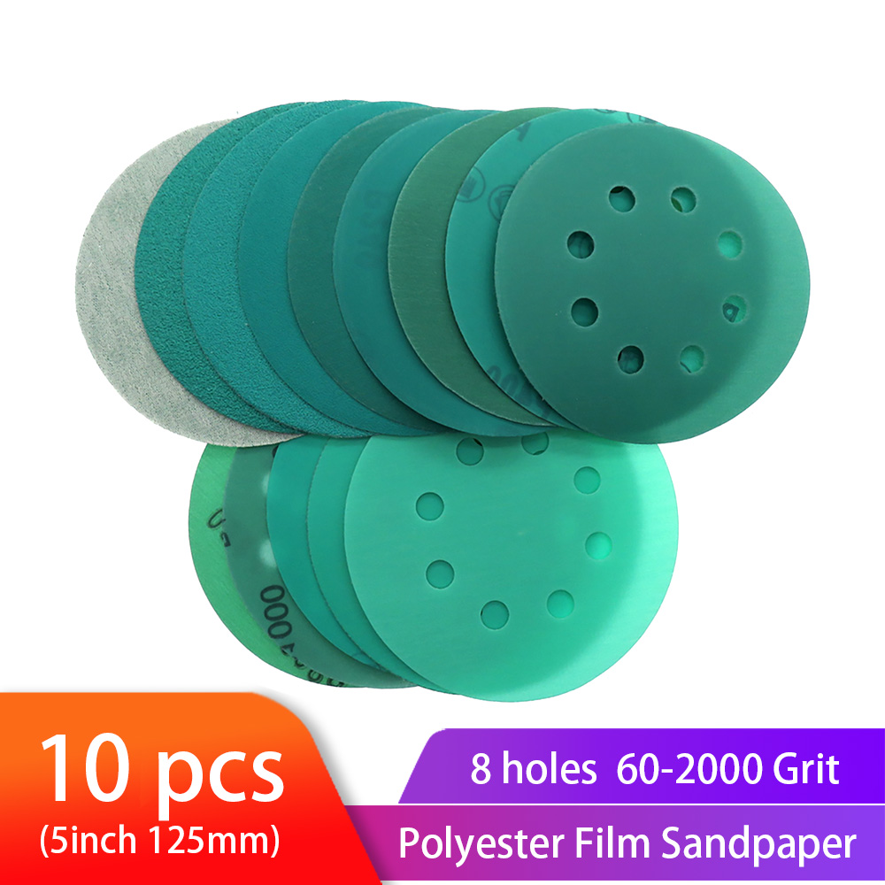 10PCS Polyester Film Sandpaper 5 Inch 125mm 8-hole Wet/Dry Hook & Loop Flocking Green Sanding Discs Paint Abrasiv, 60#-2000#