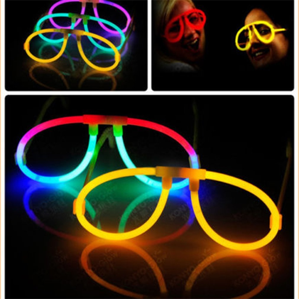 10pcs Fluorescence Glasses Luminous Glow Sticks Lighting For Props Wedding Birthday Party Concerts Favors With Frame Novelty Toy