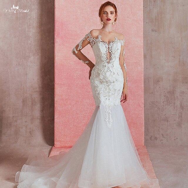 RSW1581 Sexy Sheer O neck z długim rękawem suknia ślubna o kroju syreny 2019 zobacz przez Illusion suknia ślubna wiązana z tyłu z koronki aplikacja