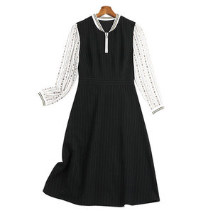 2020 Spring and Autumn Dress Casual Vintage Black Patchwork Long Sleeve V Zipper Collar Plus Size 4xl 5xl for Women Freeshipping