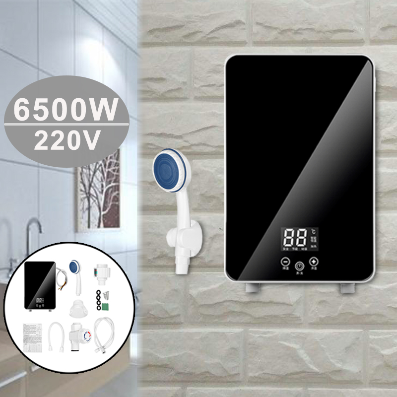 Instant Electric Tankless Water Heaters Constant Temperature 6500W Kitchen Bathroom LCD Display Shower Safe Intelligent