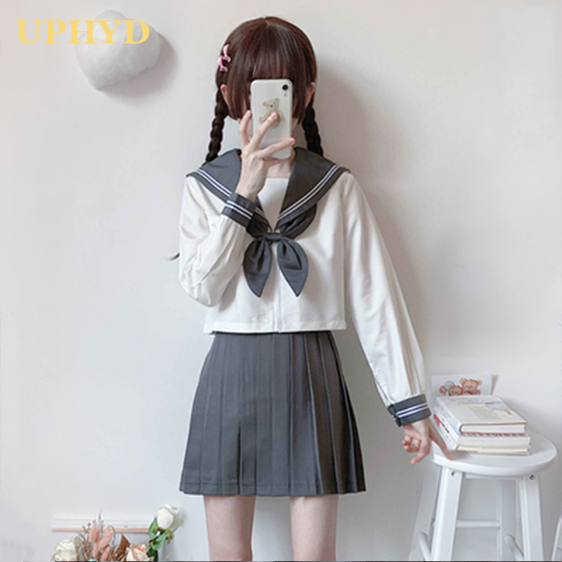 UPHYD Girls School Outfits Novelty Women Cosplay Long Sleeve White Shirt Pleated Skirt Sailor Suits Japanese JK Uniforms