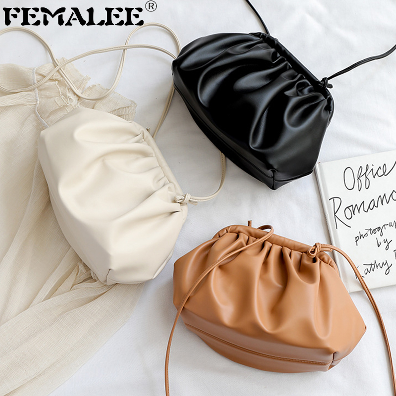 High Street Soft Cloud Bag Solid Clasp Clutch Women's Luxury Shoulder Bag Good Quality Designer Dumplings Purse Party Bag