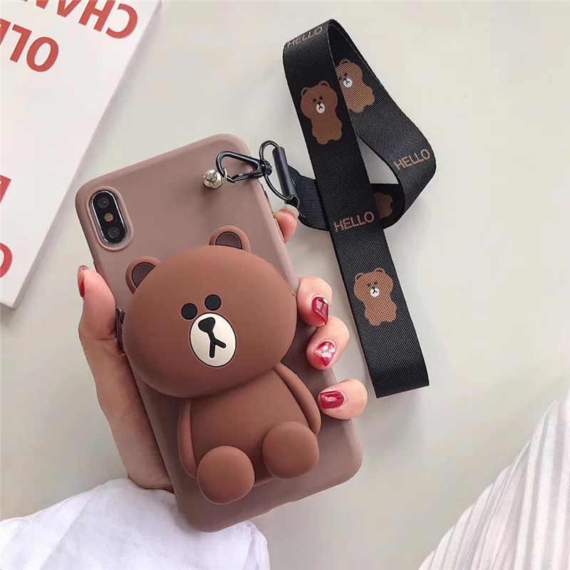 Caso para 7 plus 3d bonito dos desenhos animados animal carteira cordão caso de telefone para iphone x xr xs 5S se 11 pro max 8 6 mais ponto urso capa