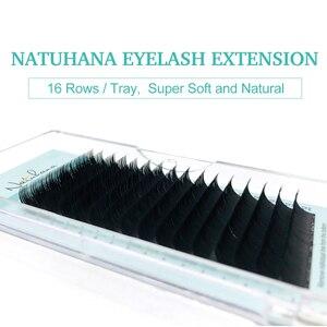 Image 4 - NATUHANA toptan 10 kılıfları/Lot 16 satırlar doğal vizon tek kirpik uzatma Premium bireysel sahte yanlış göz Lashes uzatma
