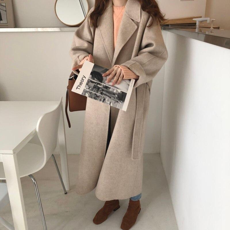 19 Winter Oversize Long Trench Coat Women Cashmere Coat Korean Lady Windbreaker Outwear Streetwear 83